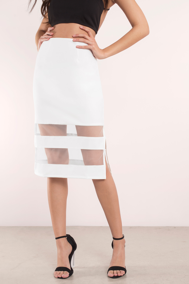 27ac7c61beb4 Trendy White Skirt - White Skirt - Mesh Skirt - Midi Striped Skirt ...