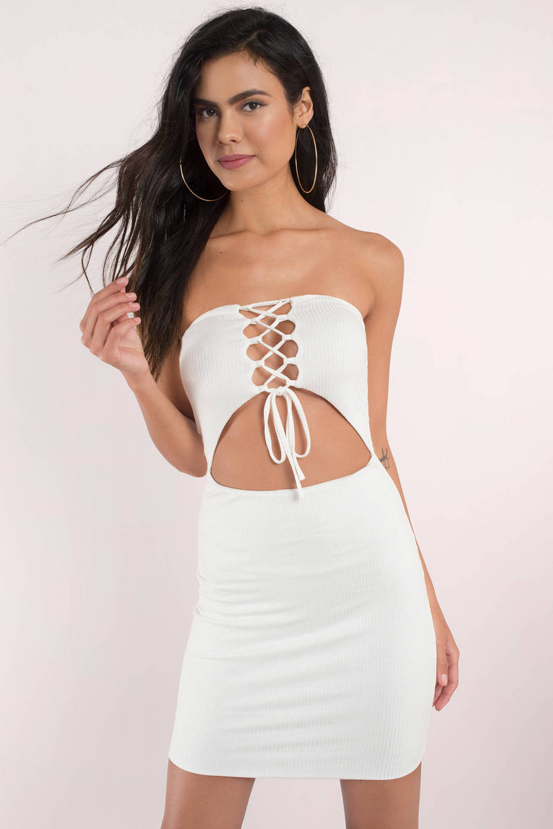4b059460f4 Sexy Bodycon Dress - Lace Up Front - Cut Out - White Dress -  13 ...