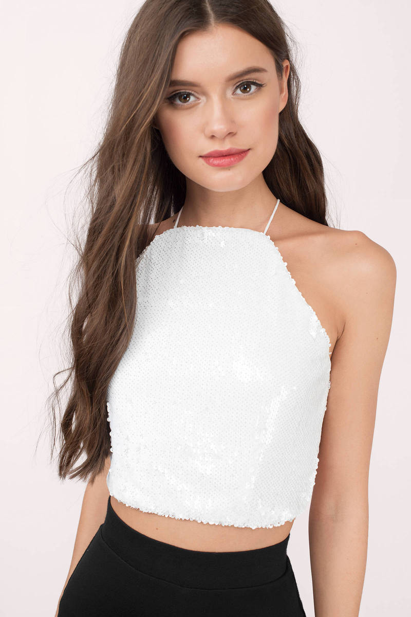 Club Life White Sequin Crop Top