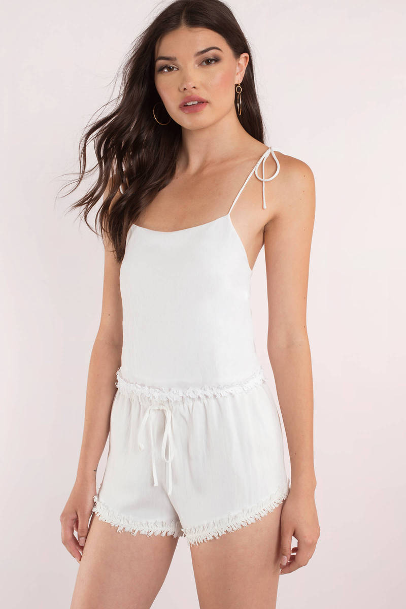 Coconut White Frayed Crop Top