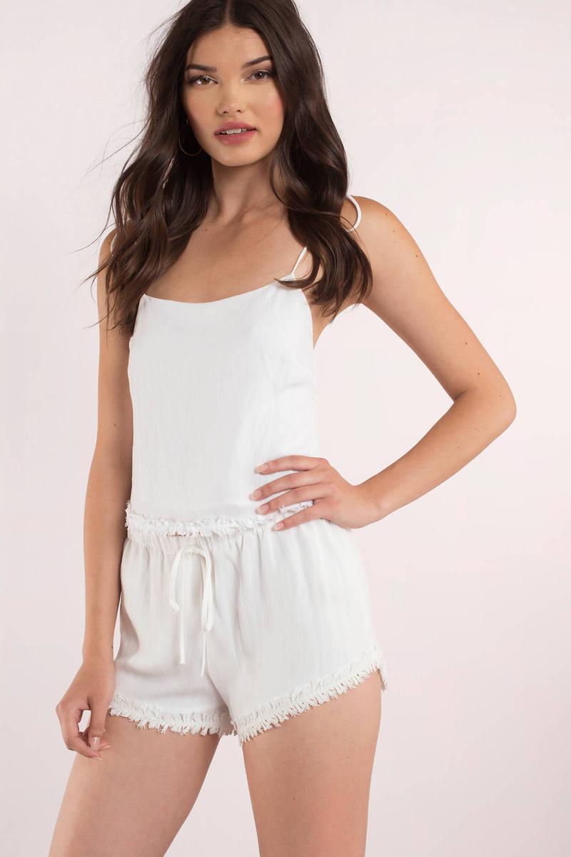 Coconut White Frayed Drawstring Shorts