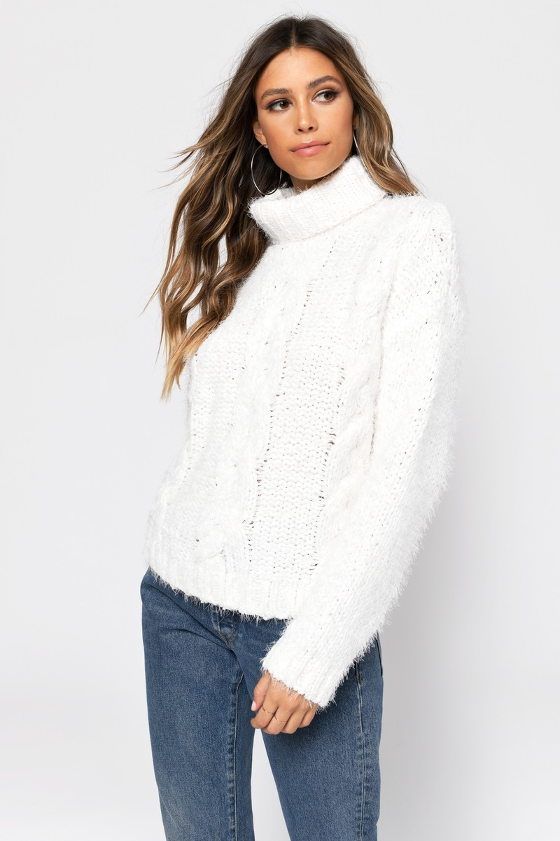 0fb79bd19d White Sweater - Fuzzy Cable Knit Sweater - White Turtleneck Knit - S ...
