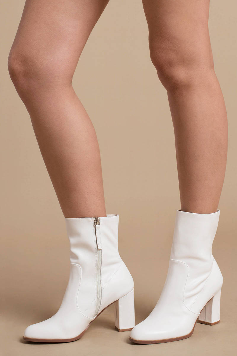 f1673c0703c9 White Boots - Zip Up Ankle Boots - White Faux Leather Boots -  78 ...