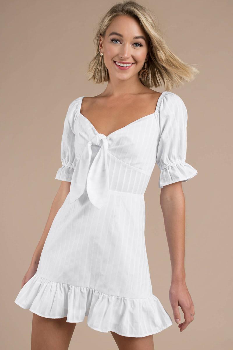 White Puff Sleeve Dress