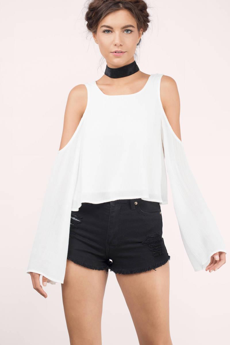 8cbd0028c9cc21 White Blouse - Cold Shoulder Blouse - Long Sleeve Blouse - White Top ...