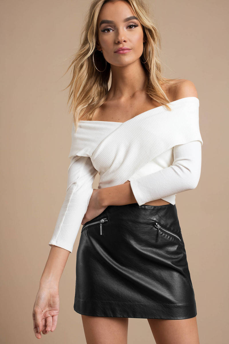 4087f4fd364a1c White Crop Top - Off Shoulder Crop Top - White Wrap Crop Top -  10 ...