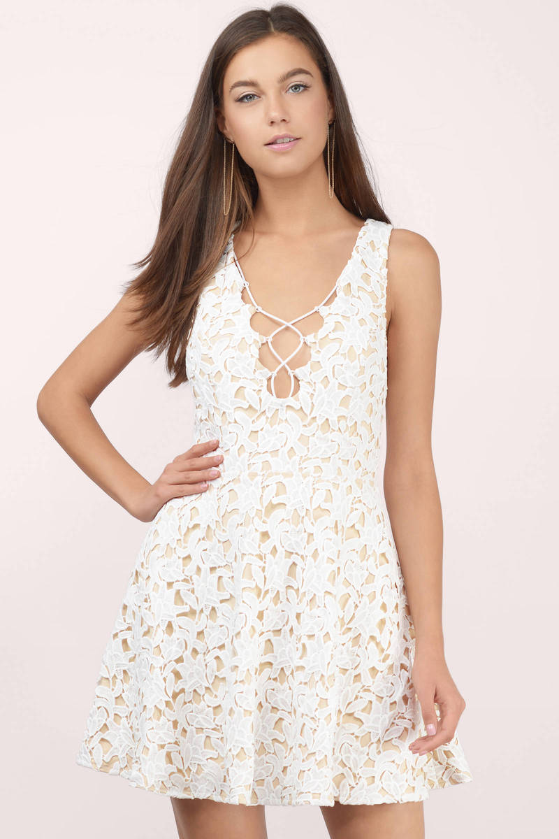 Darling White Lace Skater Dress