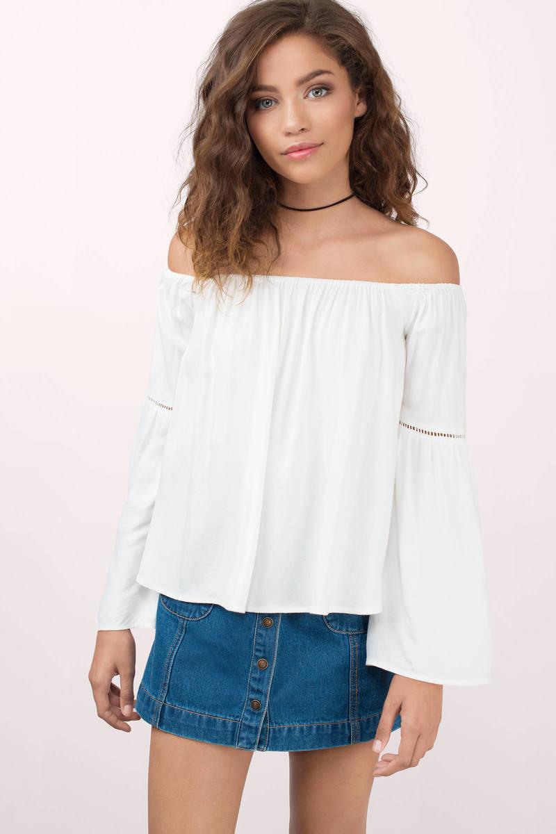 51205b9187bd8 Cute White Shirt - White Shirt - Off Shoulder Shirt - White Top ...