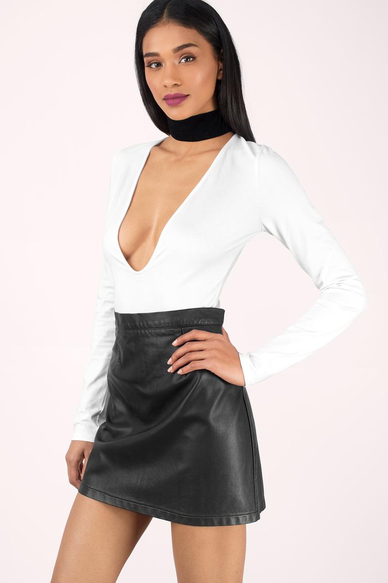 Sexy White Bodysuit - Deep V Bodysuit - White Bodysuit - € 20  f3698ee05