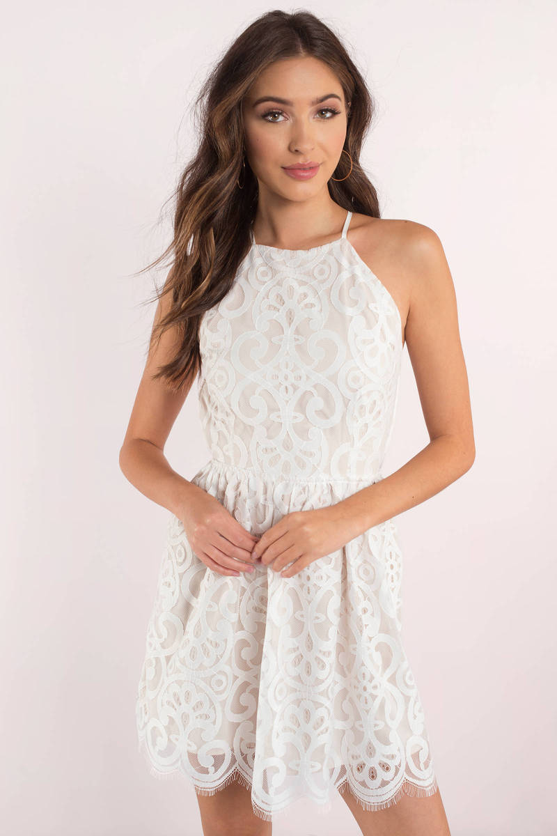 c17aa10f Cute White Dress - Lace Dress - White Flare Dress - Skater Dress ...