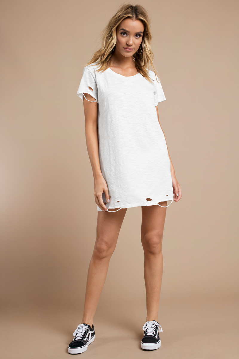 baa78c7bd515 Trendy White Dress - Distressed Dress - Short Sleeve Dress -  58 ...