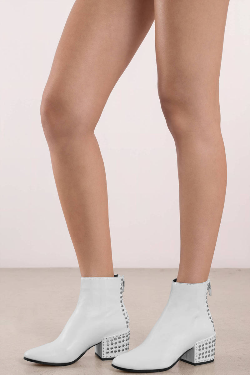 White Dolce Vita Boots - Studded Heel Boots - White Pointy Boots ... 367d06daf4
