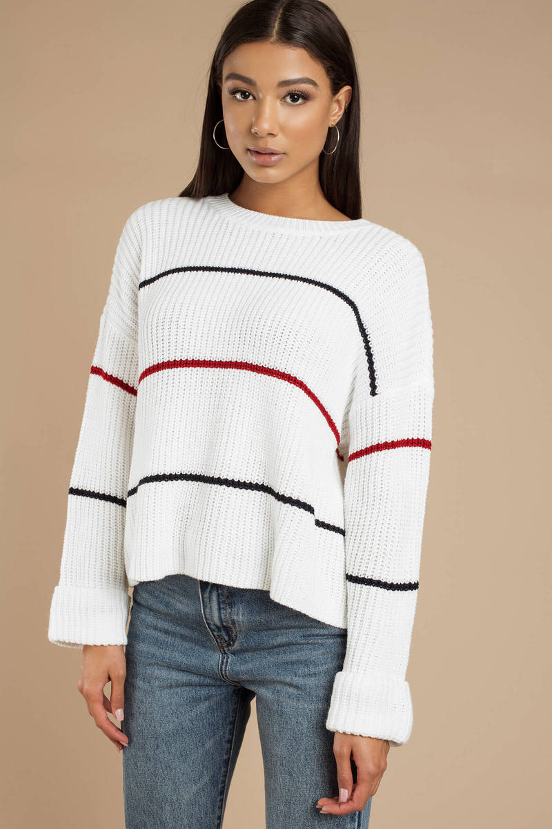 17353a522d White Sweater - Lightweight Knit Sweater - White Striped Sweater - C ...