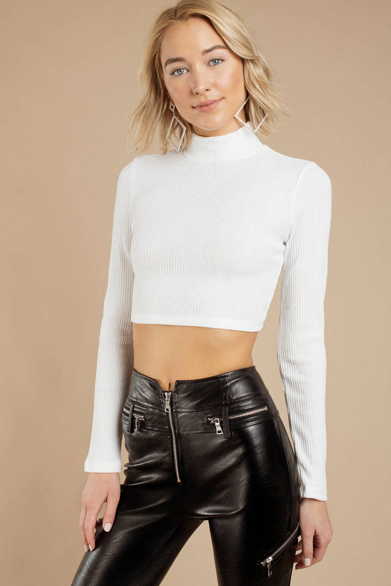 4e11dc0f3a8 White Crop Top - Mock Neck Top - White Ribbed Crop Top -  21