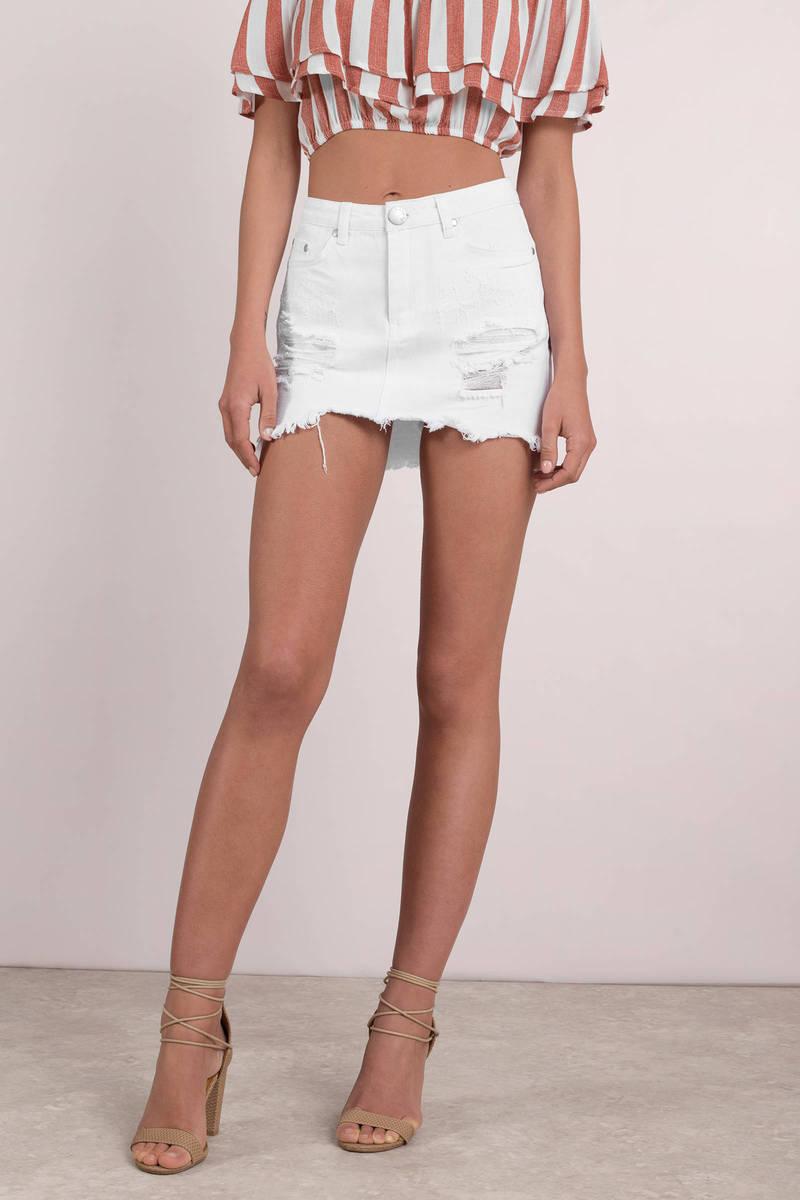 cute enjoy complimentary shipping newest style Elsa Distressed Denim Skirt