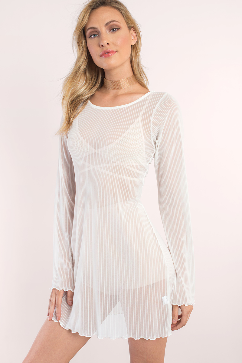 f1a7985a2d3 Chic White Shift Dress - Long Sleeve Ribbed Dress - White Sheer ...