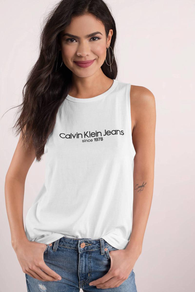 b058476a6c White Calvin Klein Tee - Sleeveless Shirt - Retro Shirt - White Tee ...