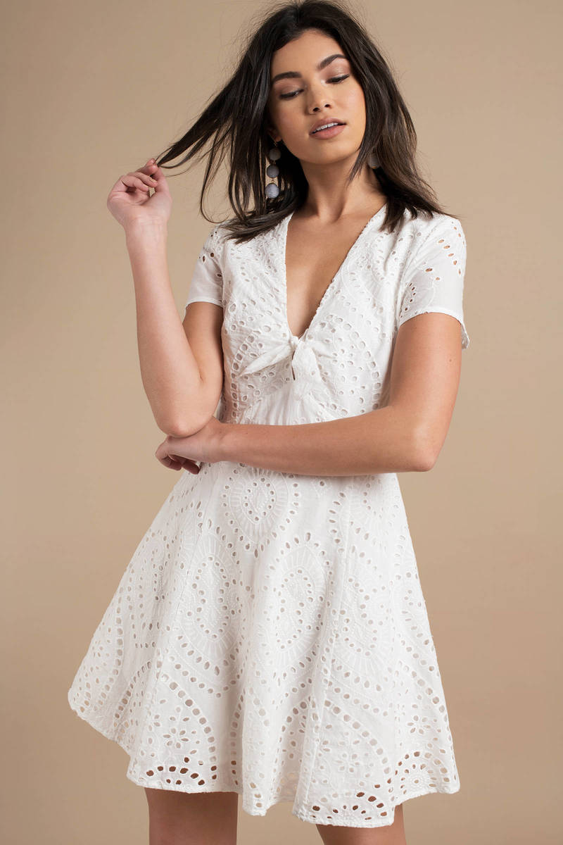7ef7fc5f4bc Cute White Casual Dress - Eyelet Dress - White Front Tie Dress -  49 ...