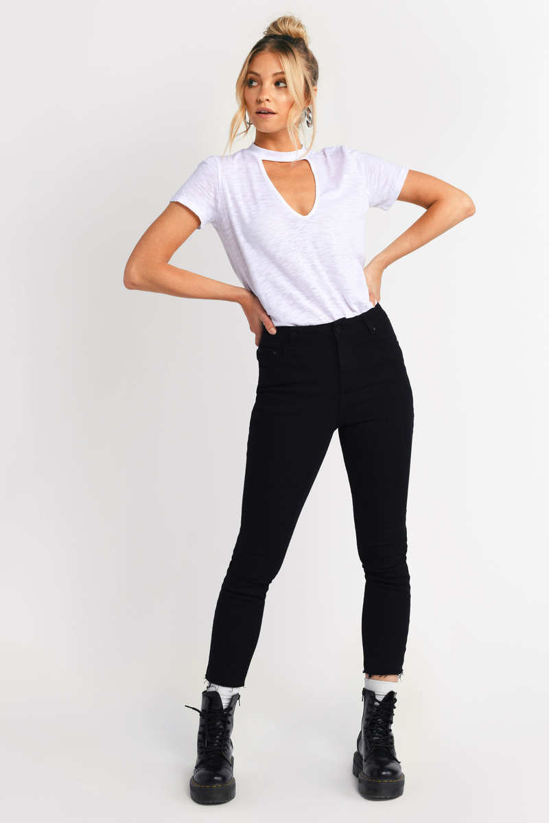 Cute White Top - Plunging Top - White Top - White Tee Shirt -  10 ... 63955f747