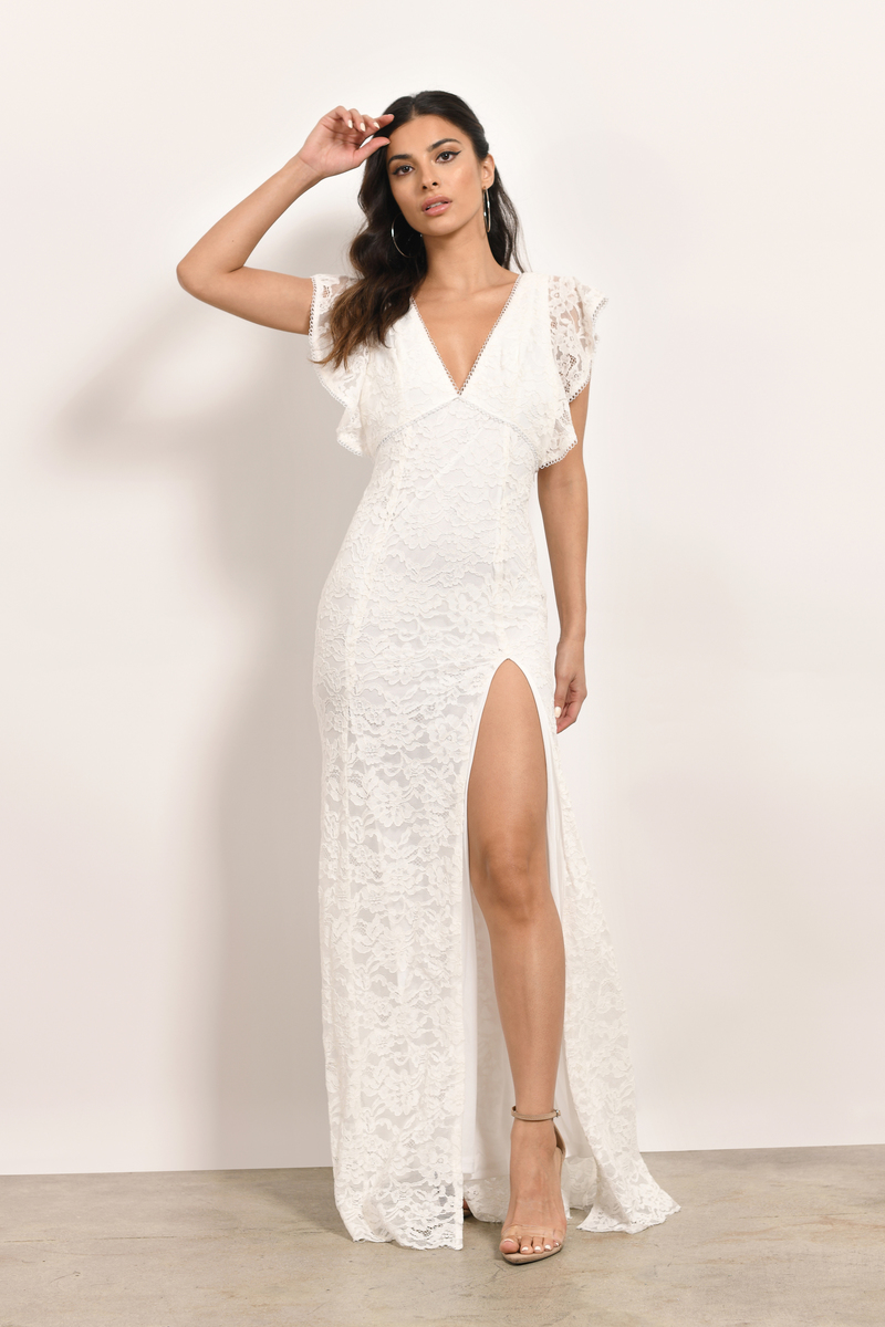 White Maxi Dress - Formal Dress - White Flutter
