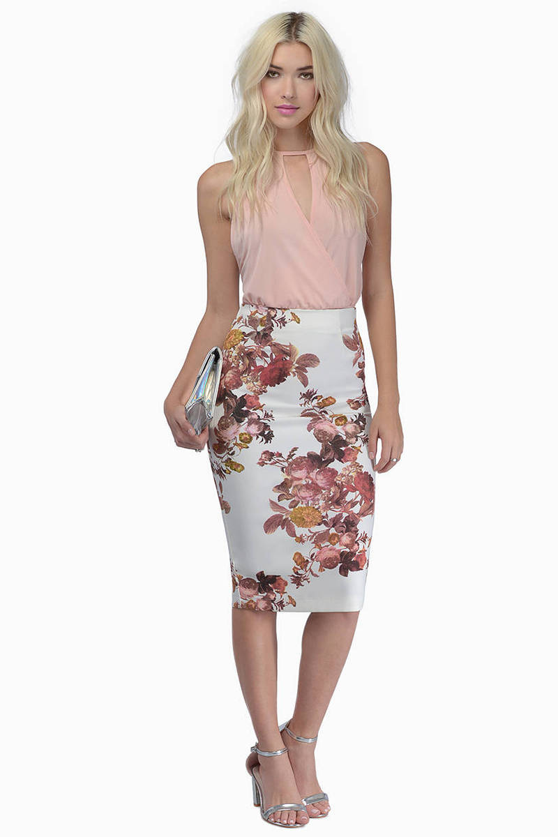 Flower Bombshell Pencil Skirt