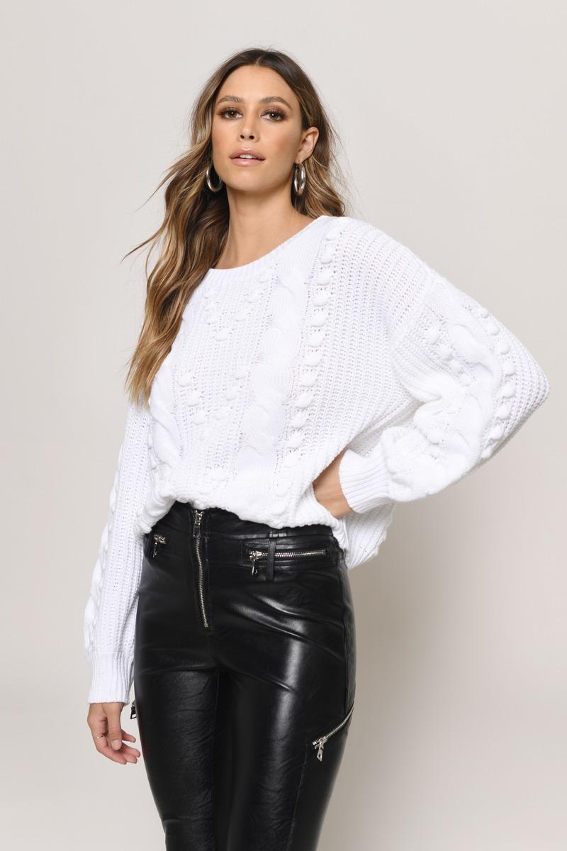 White Sweater - Pom Pom Sweater - White Chunky Knit Sweater -  37 ... cb0f43eb8