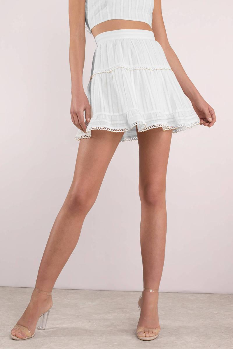 1415f61be5 White Skirt - Beaded Trim Skirt - White Skater Skirt - $34 | Tobi US