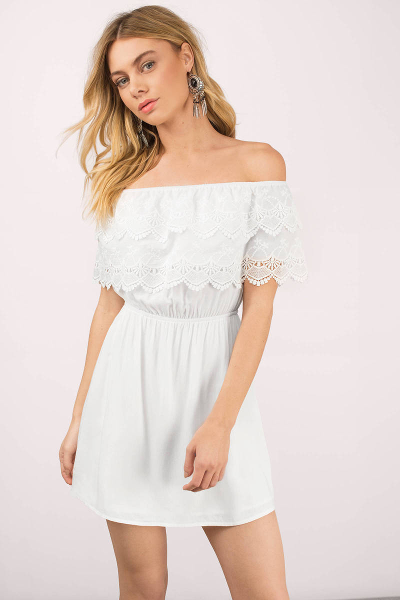 Off the Shoulder White Cocktail Dress