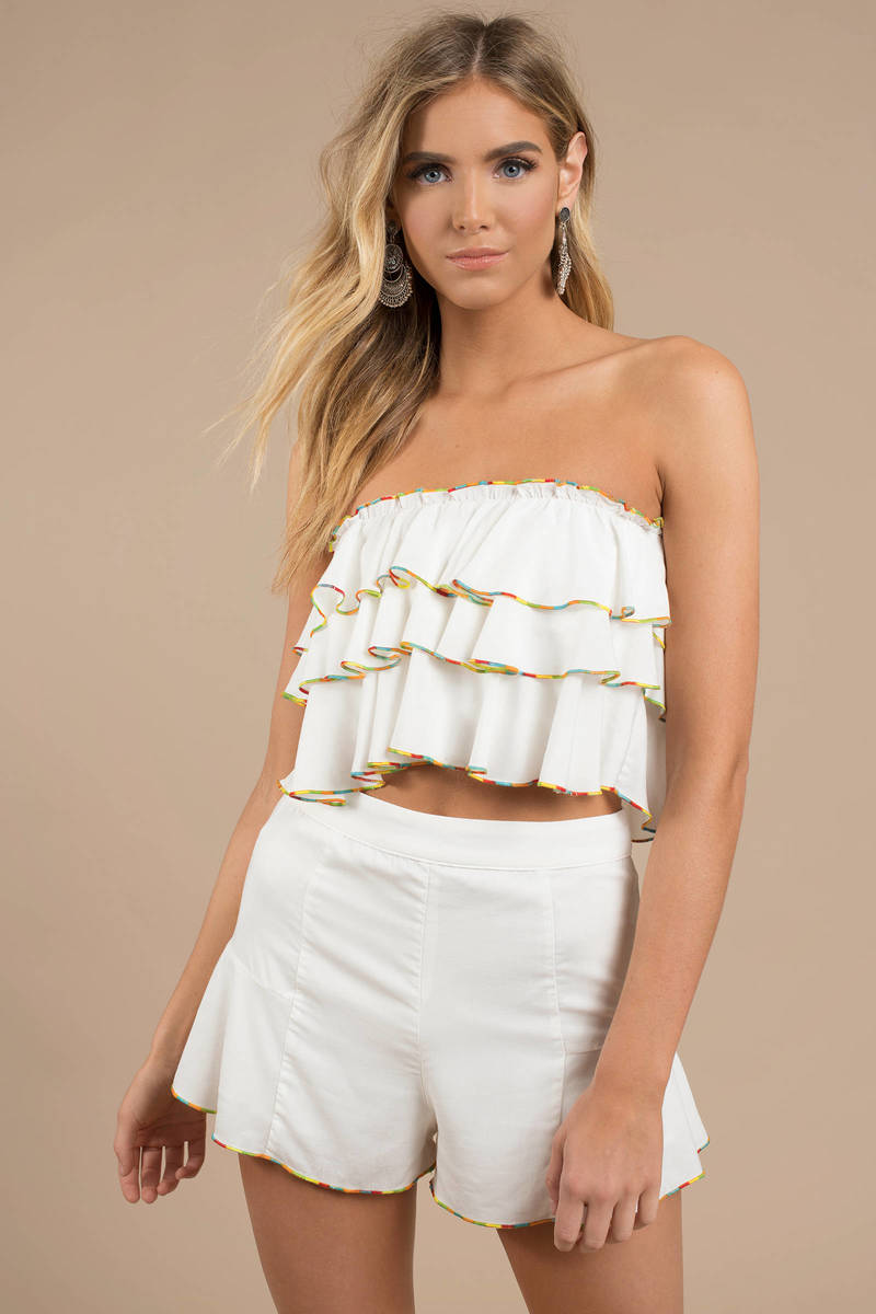 4fd7f1cf74ca6 White Crop Top - Strapless Top - White Tiered Top - Tube Top -  27 ...