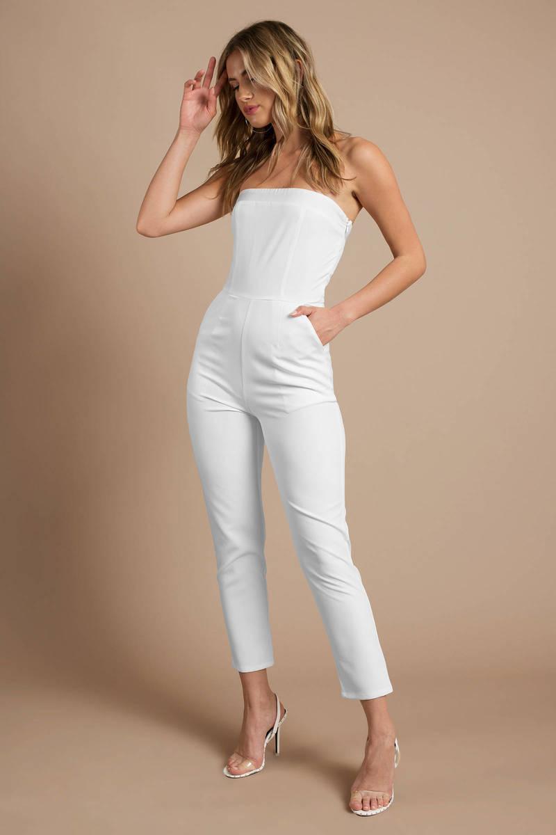 White Jumpsuit - Tight Jumpsuit - White Strapless Jumpsuit ...