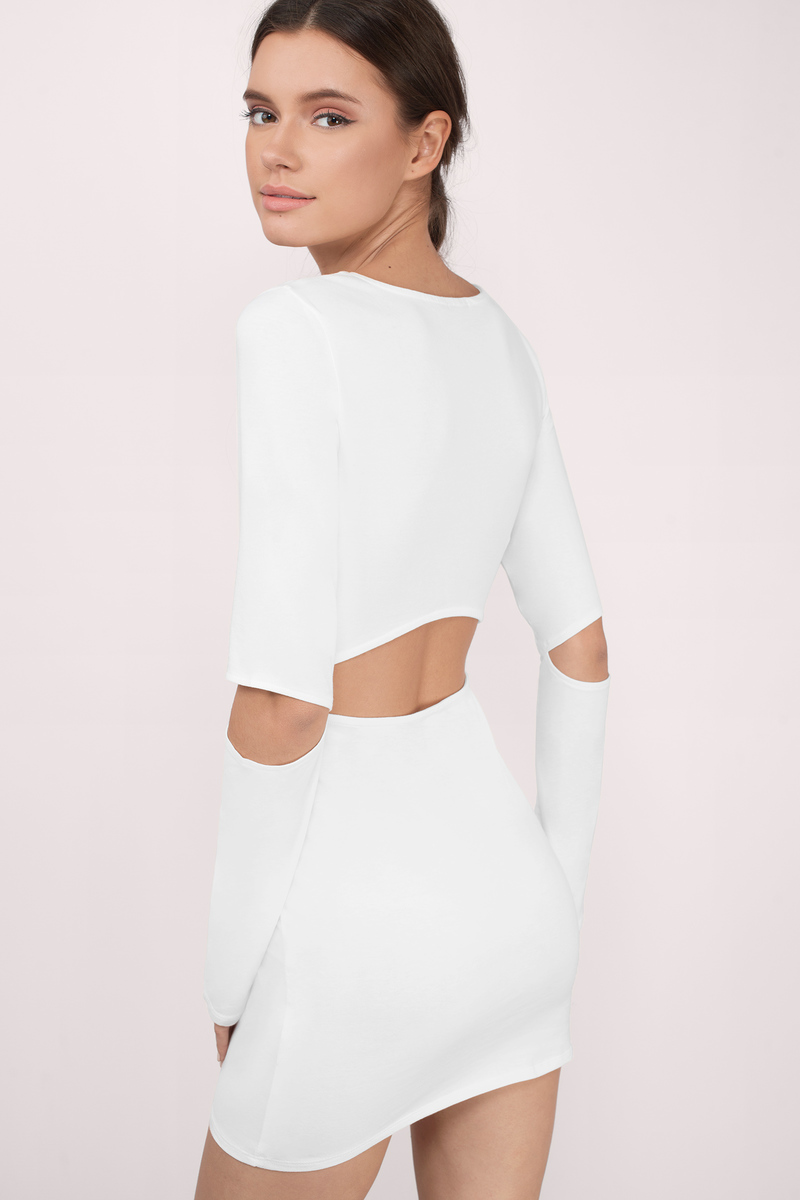 Glimpses Of Me White Long Sleeve Cut Out Bodycon Dress