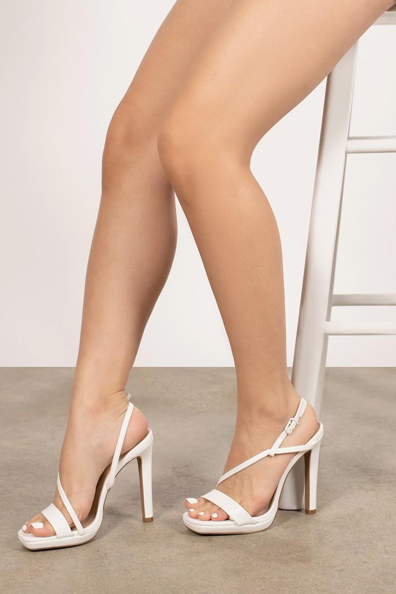 Strappy White Heels