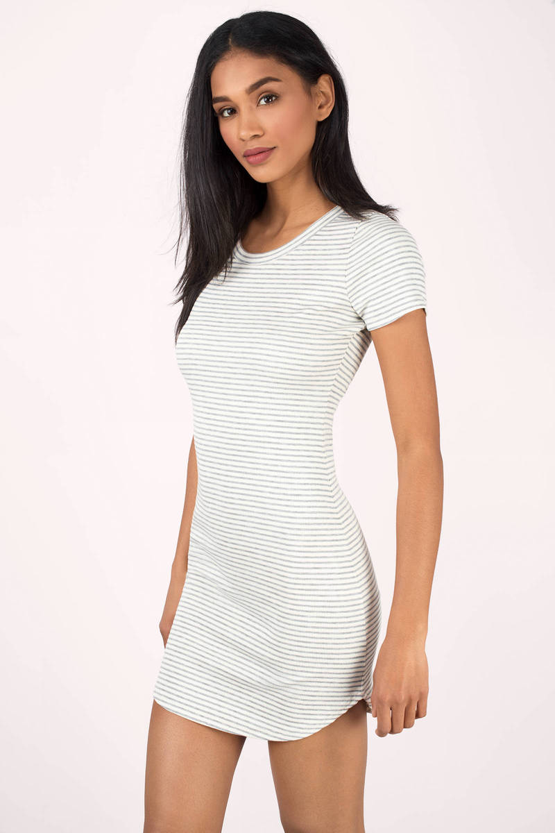 Amelia White & Grey Striped Bodycon Dress