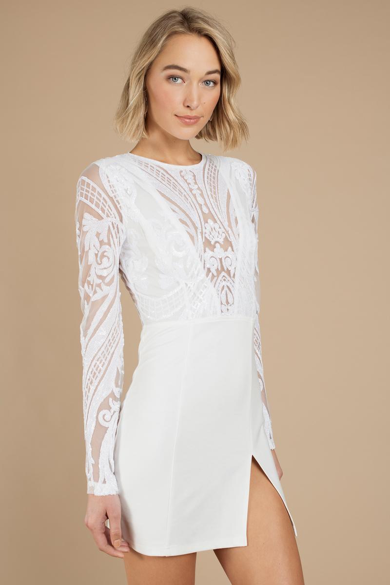 f6b7da8f4184 White Bodycon Dress - Elegant Dress - White Mesh Dress -  51