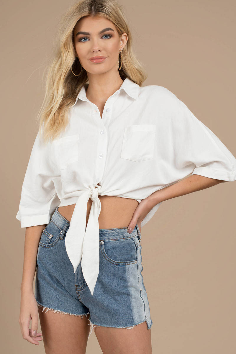 a9ae8bcaf13f0 White Shirt - Front Knot Top - White Collared Crop Top -  26