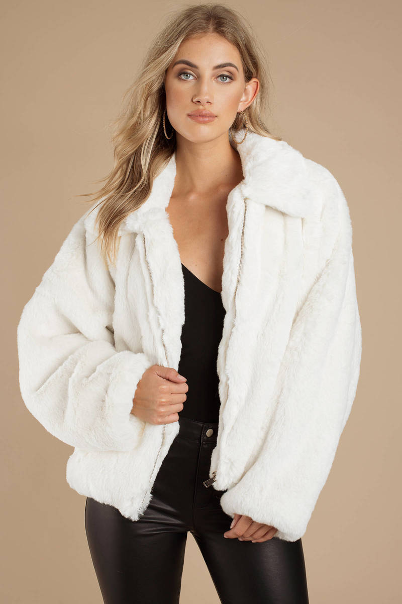 White Tiger Mist Jacket - Fluffy Jacket - White Faux Fur Jacket ... 292482f210f3