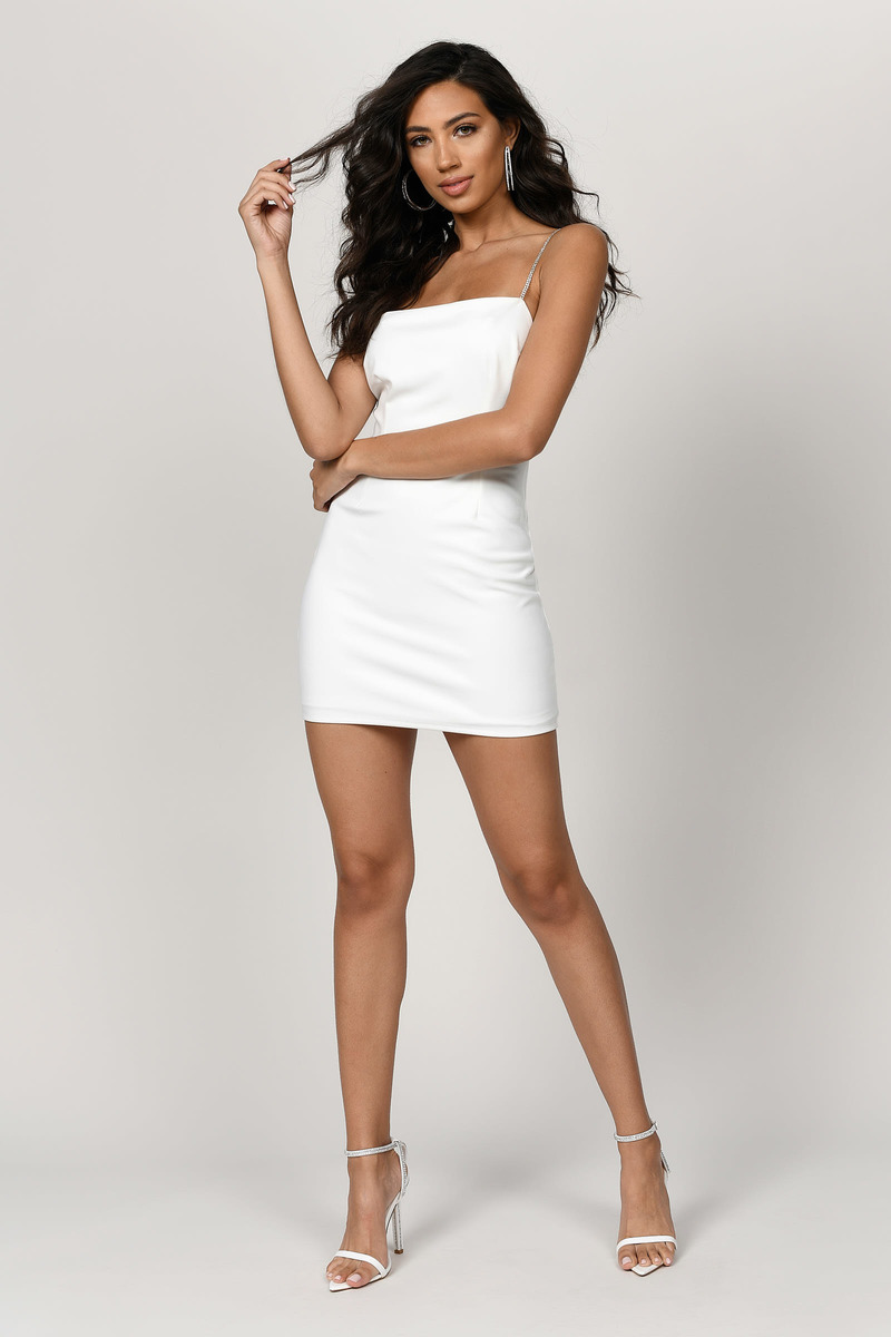 fe81a1011ba5 White Bodycon Dress - Low Back Dress - White Diamante Straps Dress ...