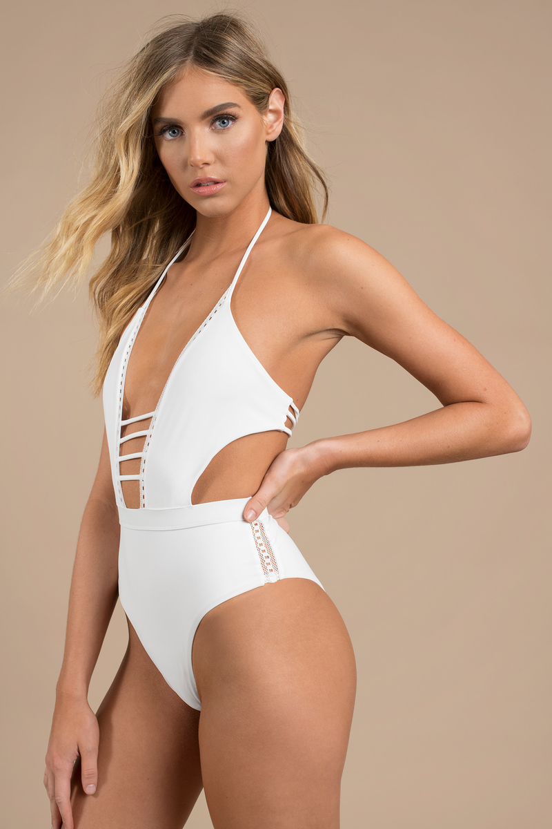 5e238fd784 White One Piece - Halter One Piece Swimsuit - White Cut Out Swimsuit ...