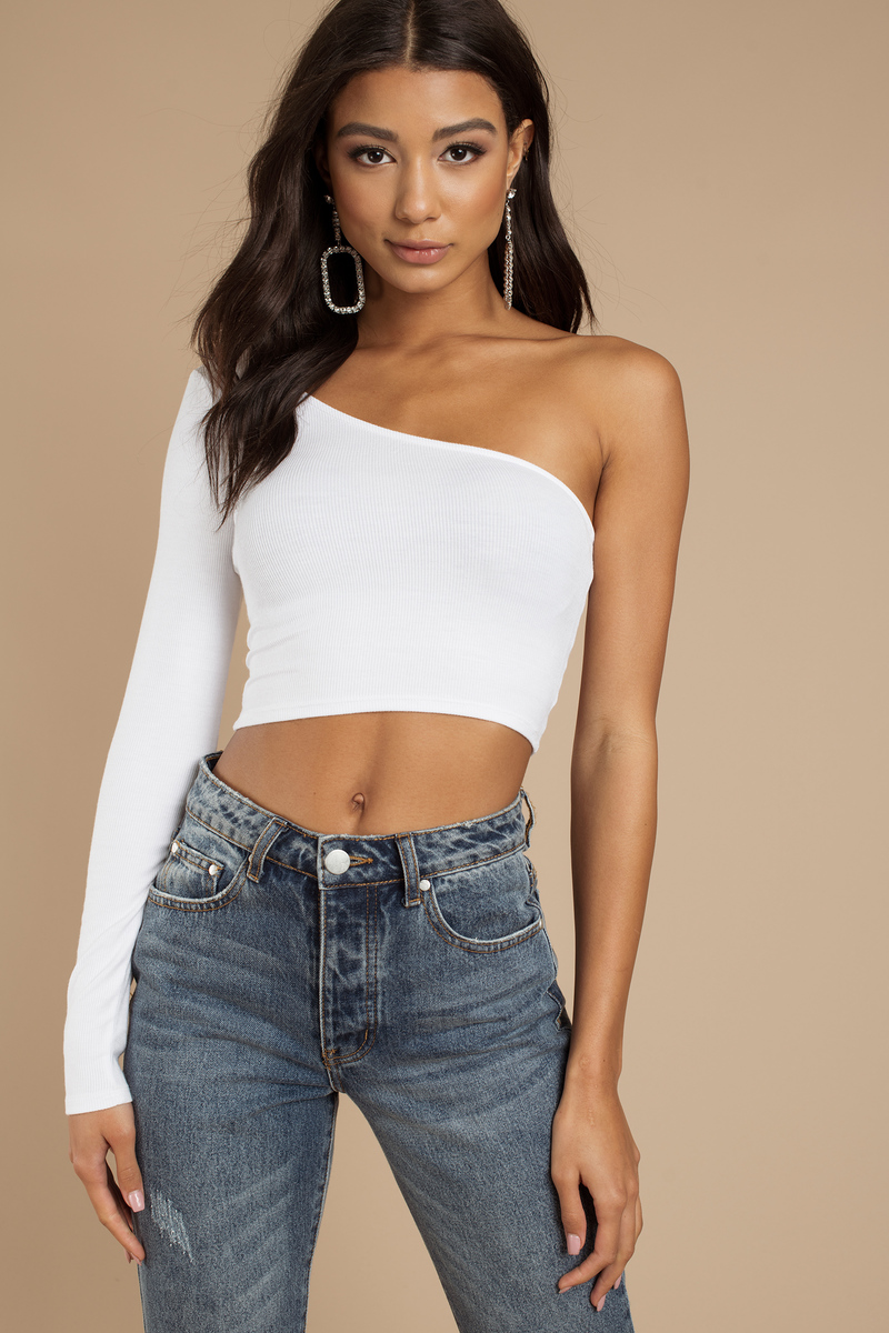 c29ed61cf09a65 White Crop Top - Party Crop Top - White One Shoulder Top - € 24 ...