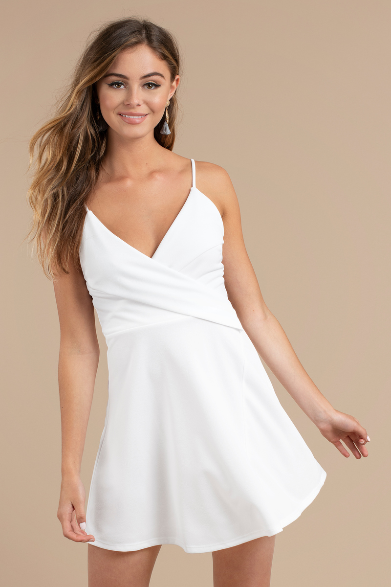 5dc54584cd7c White Skater Dress - Surplice Cami Dress - Semi Formal White Dress ...