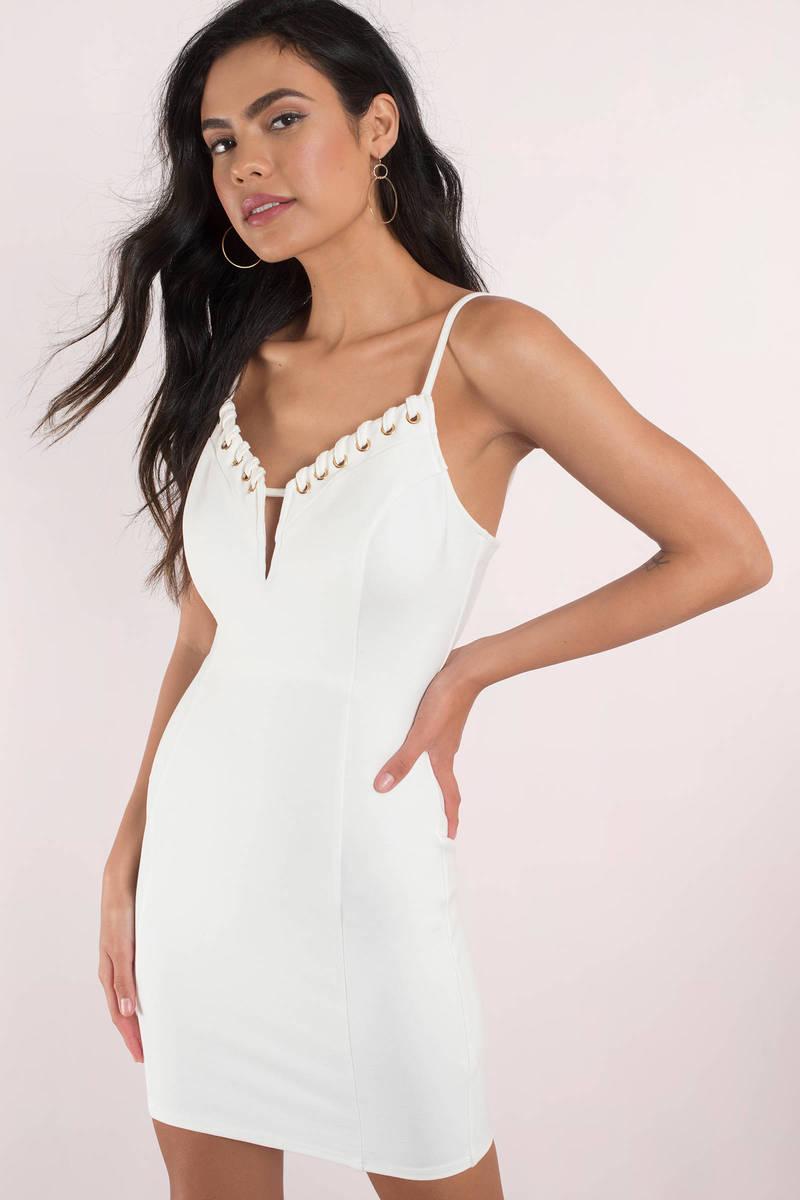 Jacqueline White  Lace Up Bodycon Dress
