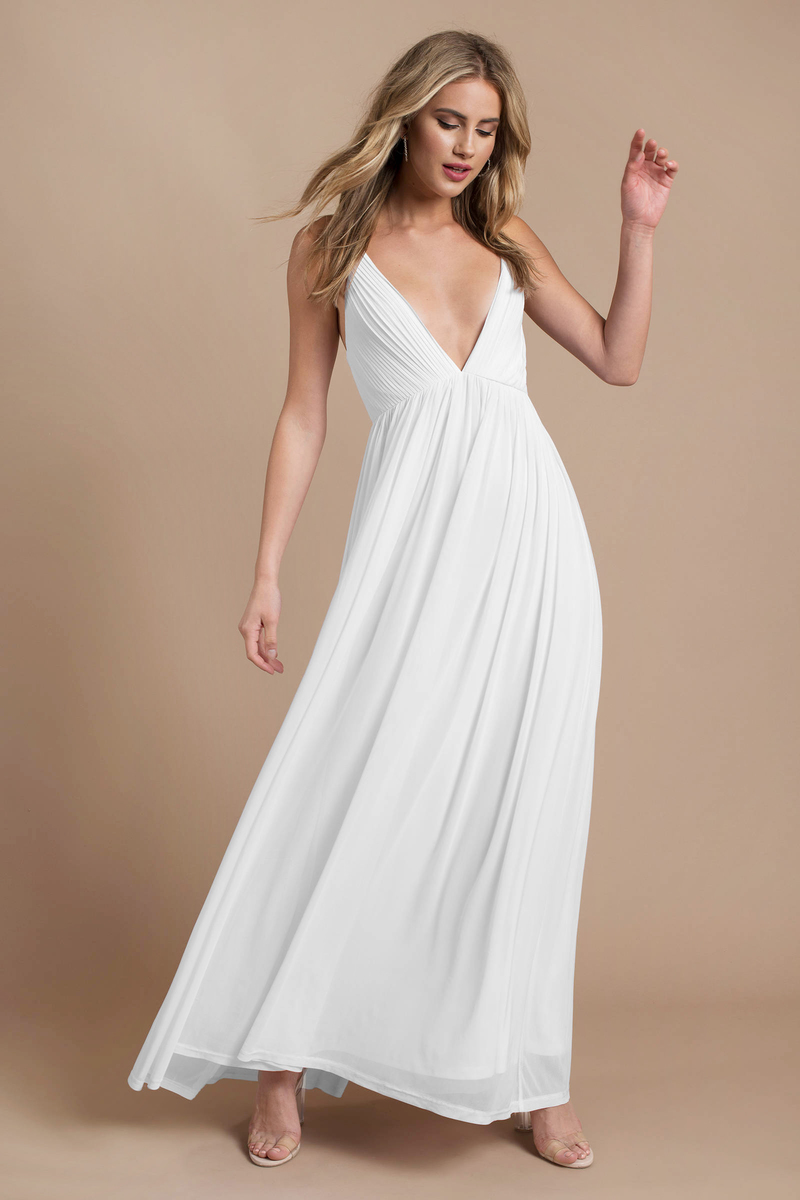 e6b7e649025 Backless White Maxi Dress - Plunging Cami Dress - Elegant White Maxi ...