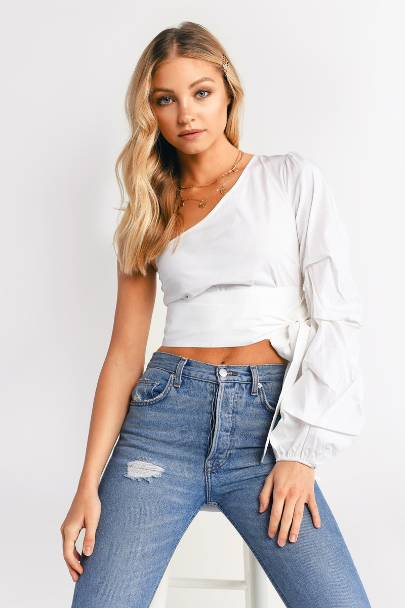 25942b763ea White Crop Top - One Shoulder Top - White Knotted Top - $15 | Tobi US