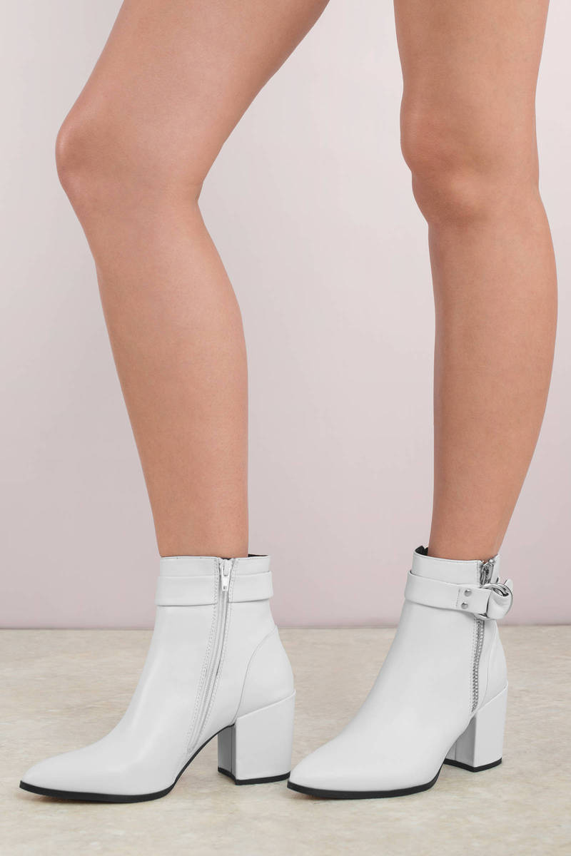 3e81ba3ea White Steve Madden Boots - Party Boots - All White Ankle Boots - C ...