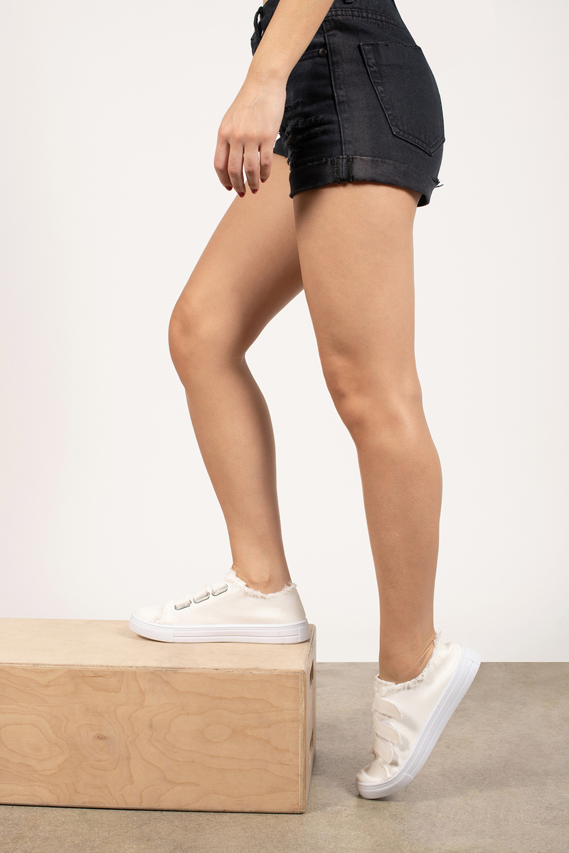 Frayed Sneakers - White Velcro Sneakers