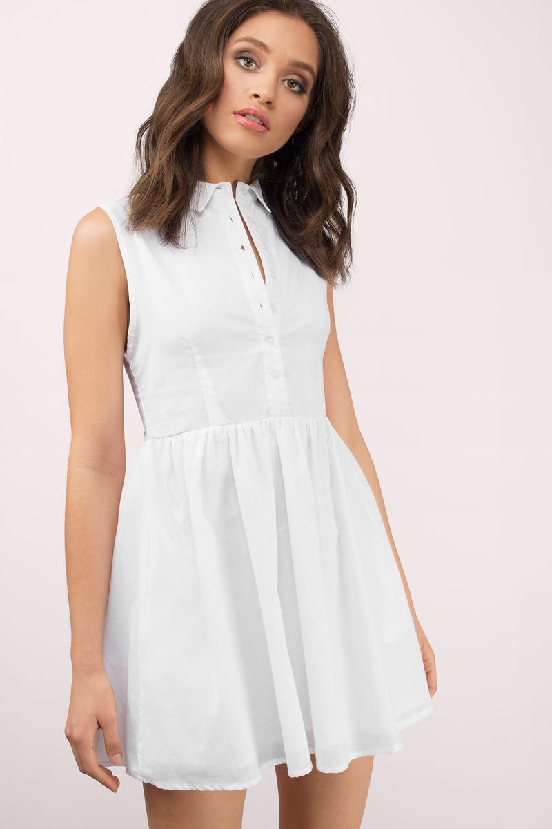 6faefd159dd Cute White Day Dress - Button Front Dress - Day Dress -  54