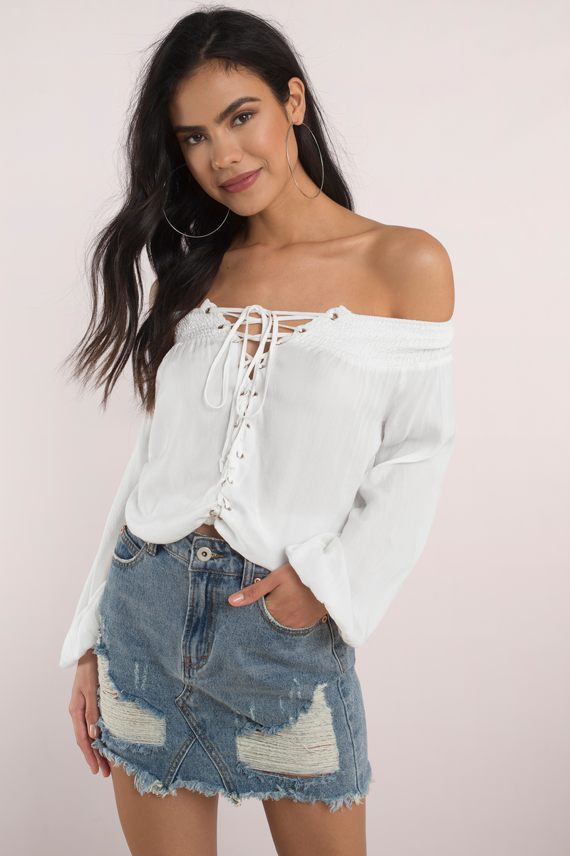 6c188bd1b9 Cute Top - Lace Up Top - Off Shoulder Top - White Blouse - $76 | Tobi US