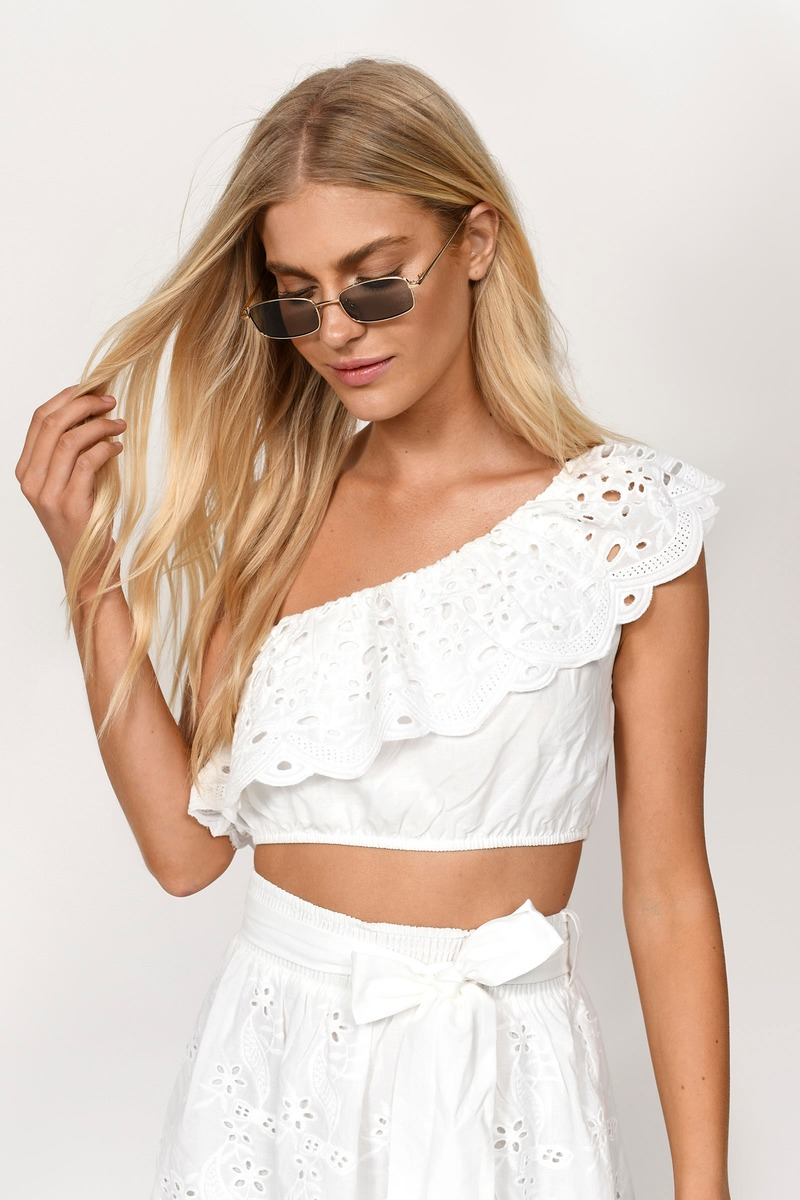 c7fb8718130aa6 Trendy White Crop Top - One Shoulder Crop Top - White Eyelet Lace ...