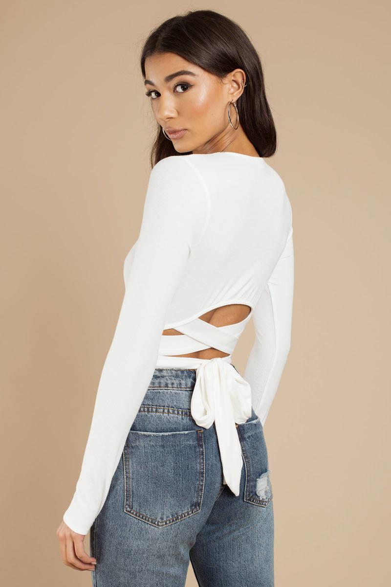 b8a104ebdad White Bodysuit - Back Tie Bodysuit - White Strappy Long Sleeve ...