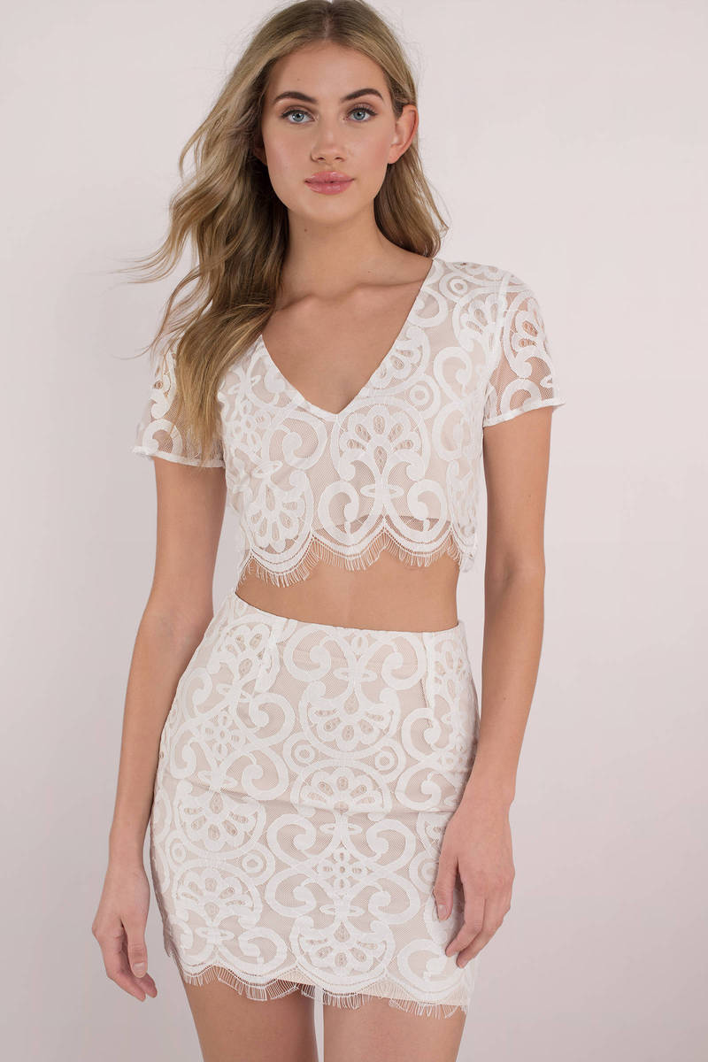 b8da2bd294b94 Cute White Crop Top - Lace Crop Top - White Scalloped Crop Top -  22 ...